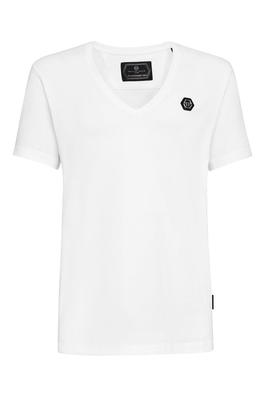 Купить Белая футболка с V-вырезом от Philipp Plein белого цвета