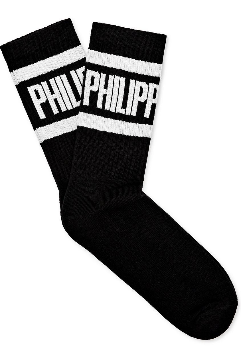 Купить Черные носки с логотипом от Philipp Plein черного цвета