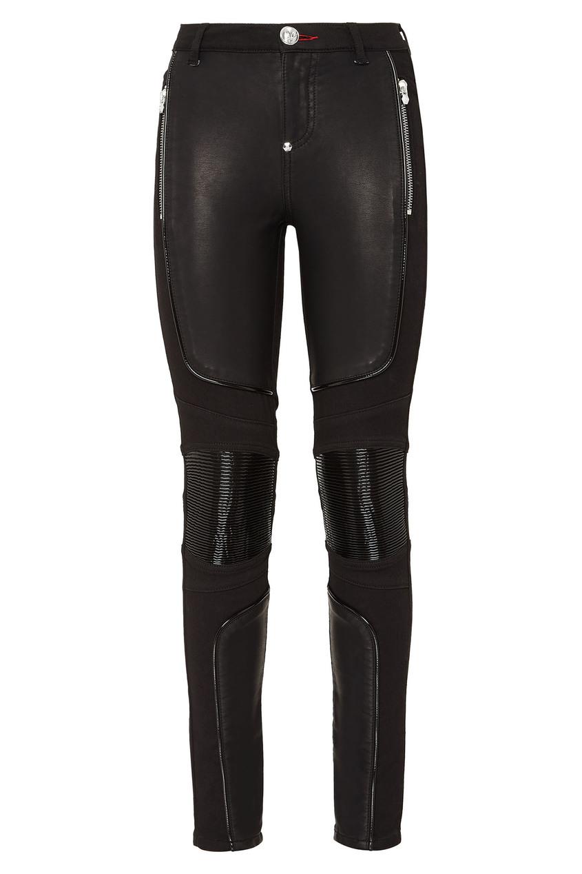 Купить Черные комбинированные брюки от Philipp Plein черного цвета