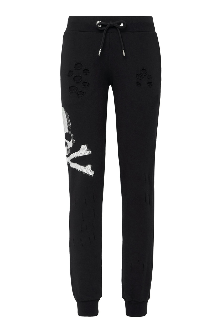 Купить Черные брюки с прорезями от Philipp Plein черно-белого цвета