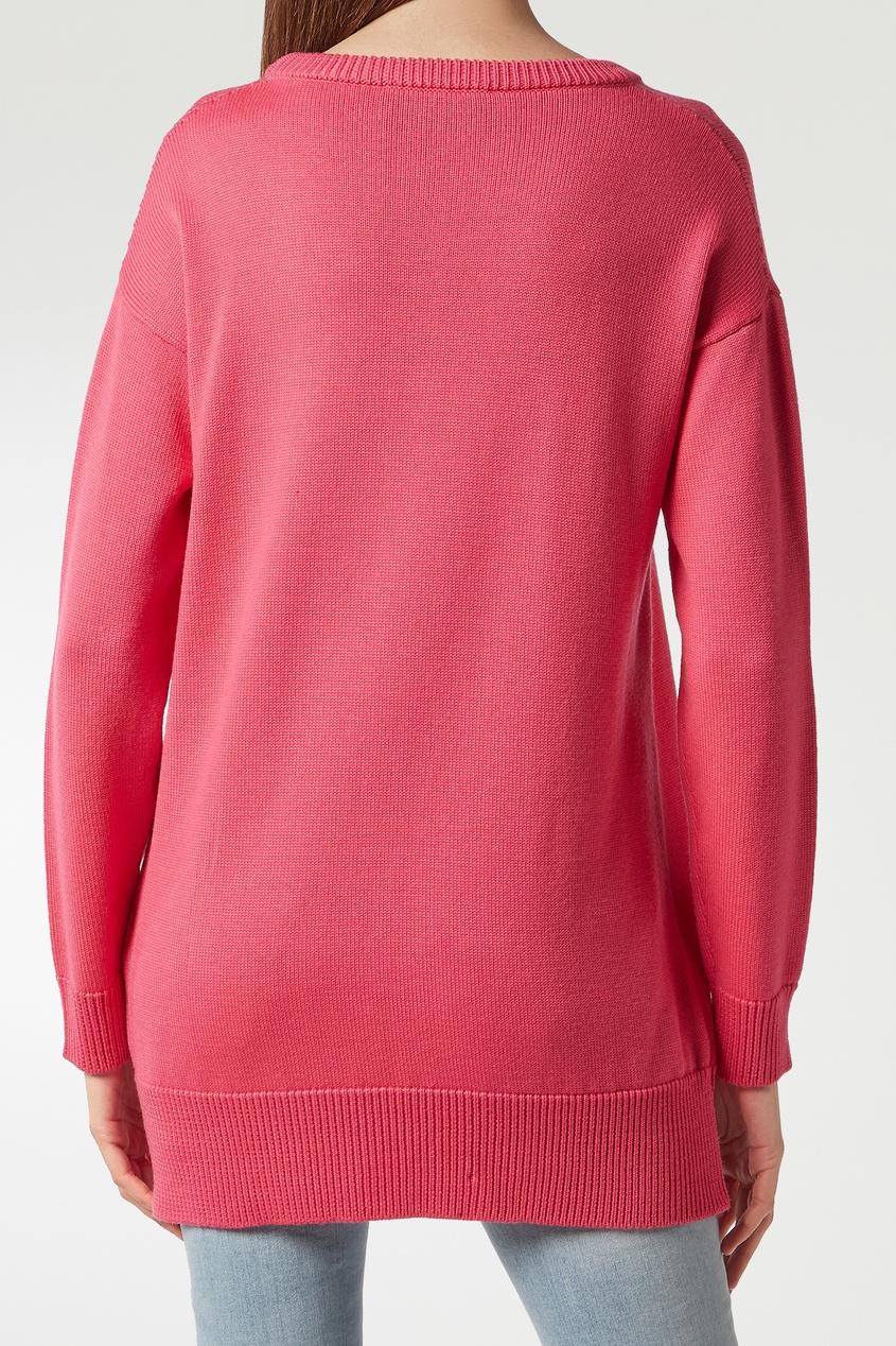 Фото 5 - Розовый джемпер с надписью от Philipp Plein розового цвета