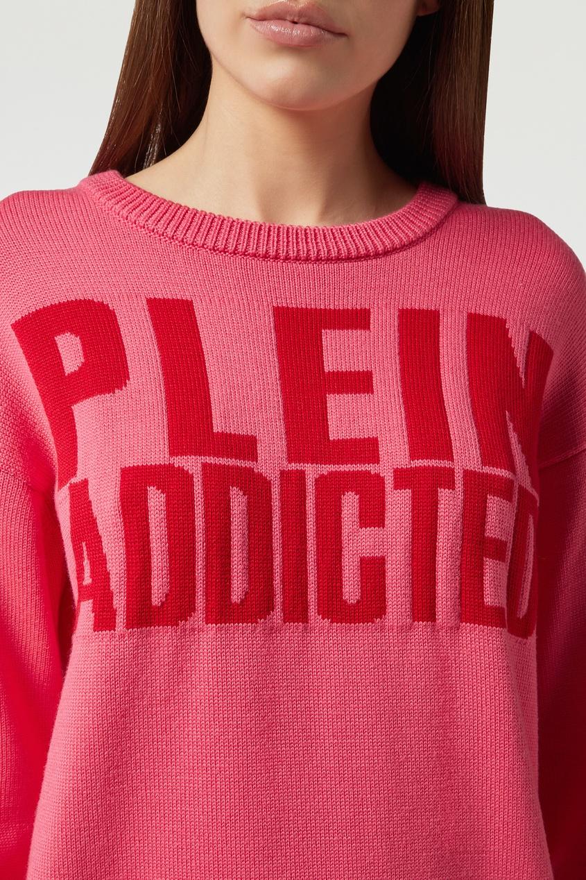 Фото 3 - Розовый джемпер с надписью от Philipp Plein розового цвета