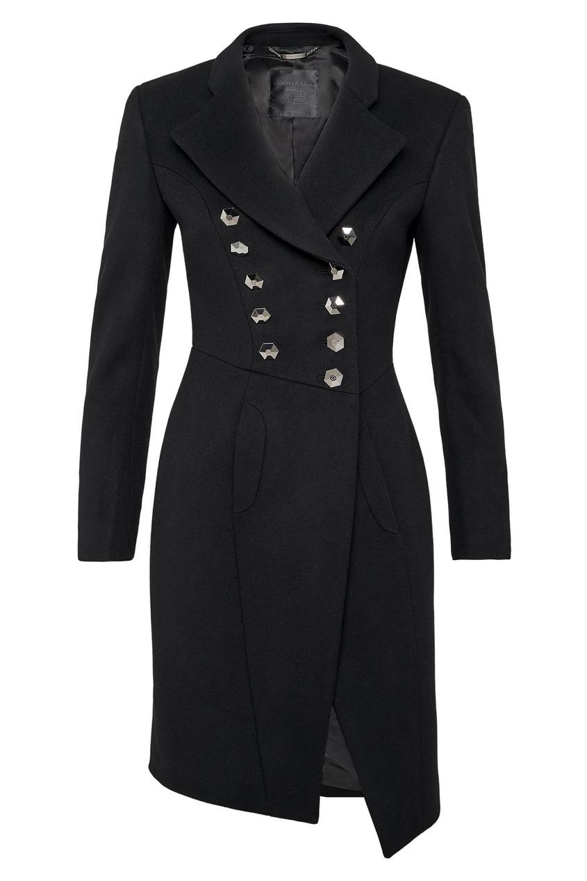 Купить Черное асимметричное пальто от Philipp Plein черного цвета