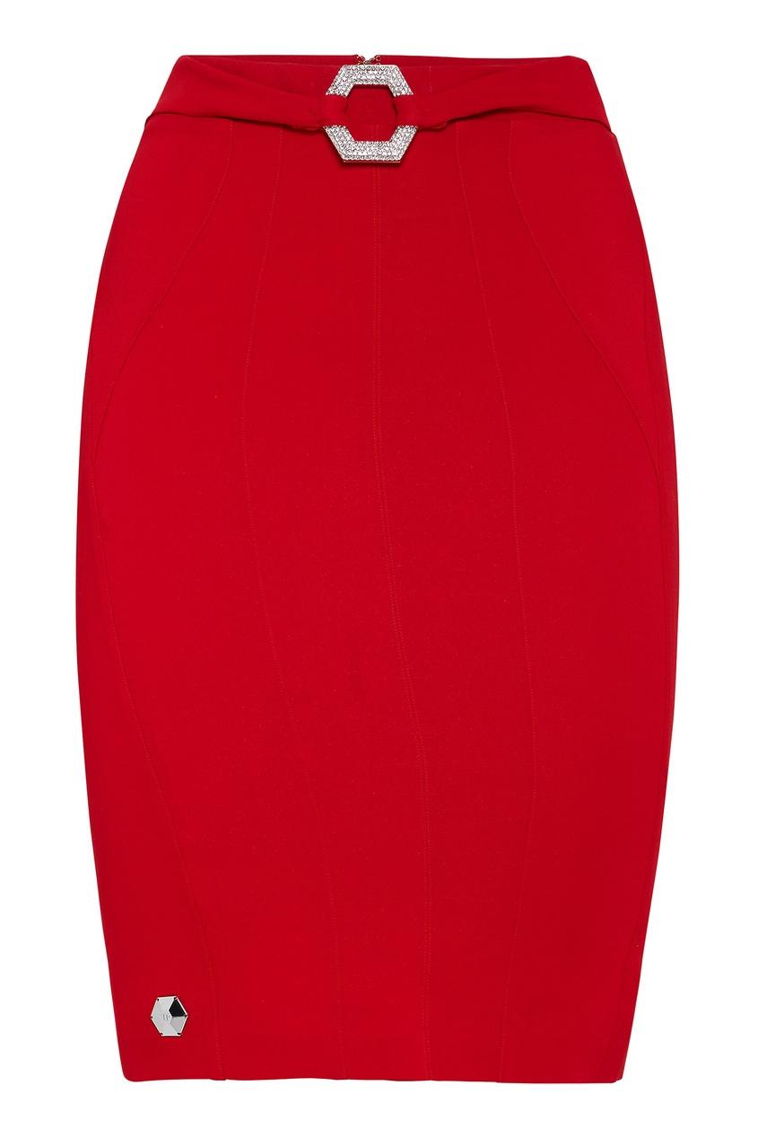 Купить Красная юбка с пряжкой от Philipp Plein красного цвета