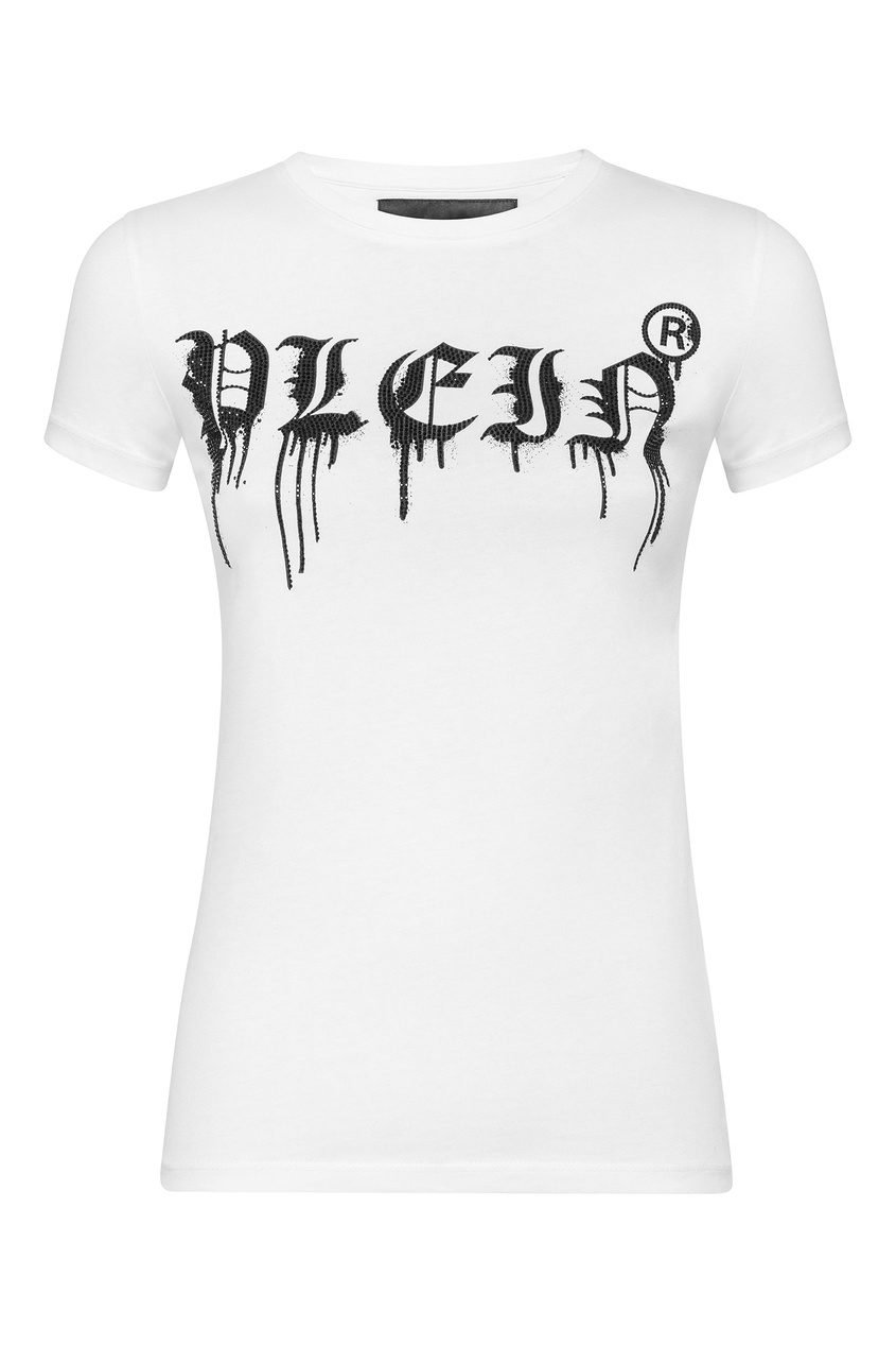 Купить Белая футболка с блестящим логотипом от Philipp Plein белого цвета