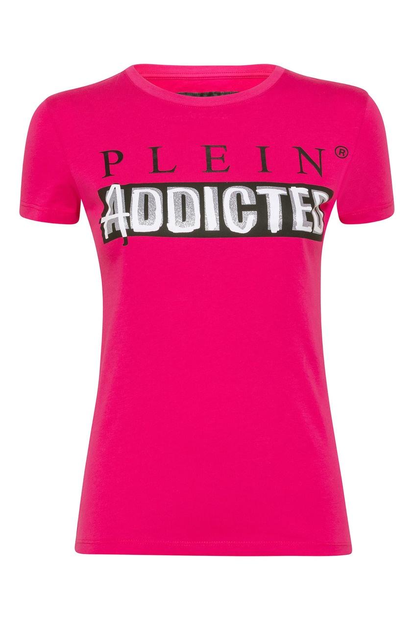 Фото - Розовая футболка с логотипом и надписью от Philipp Plein розового цвета