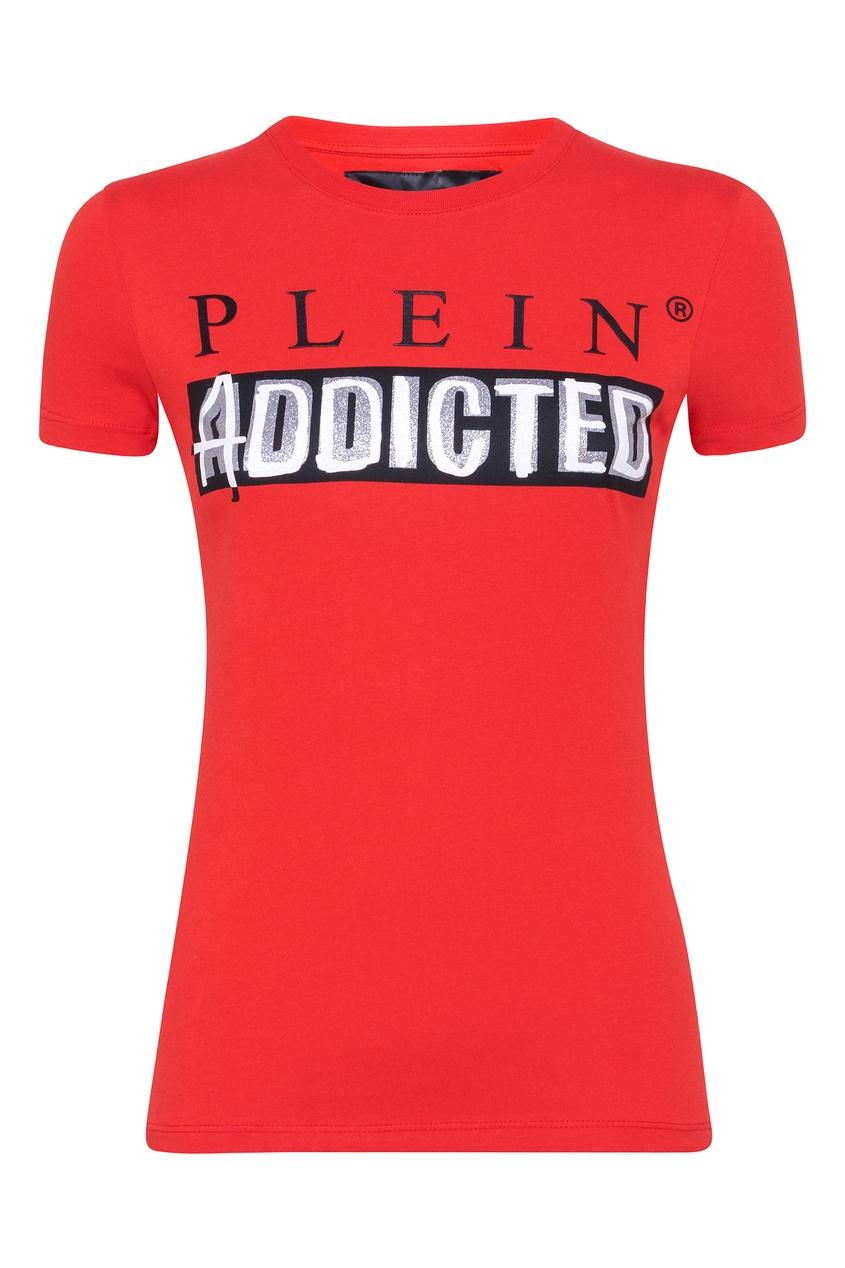 Купить Красная футболка с логотипом и надписью от Philipp Plein красного цвета