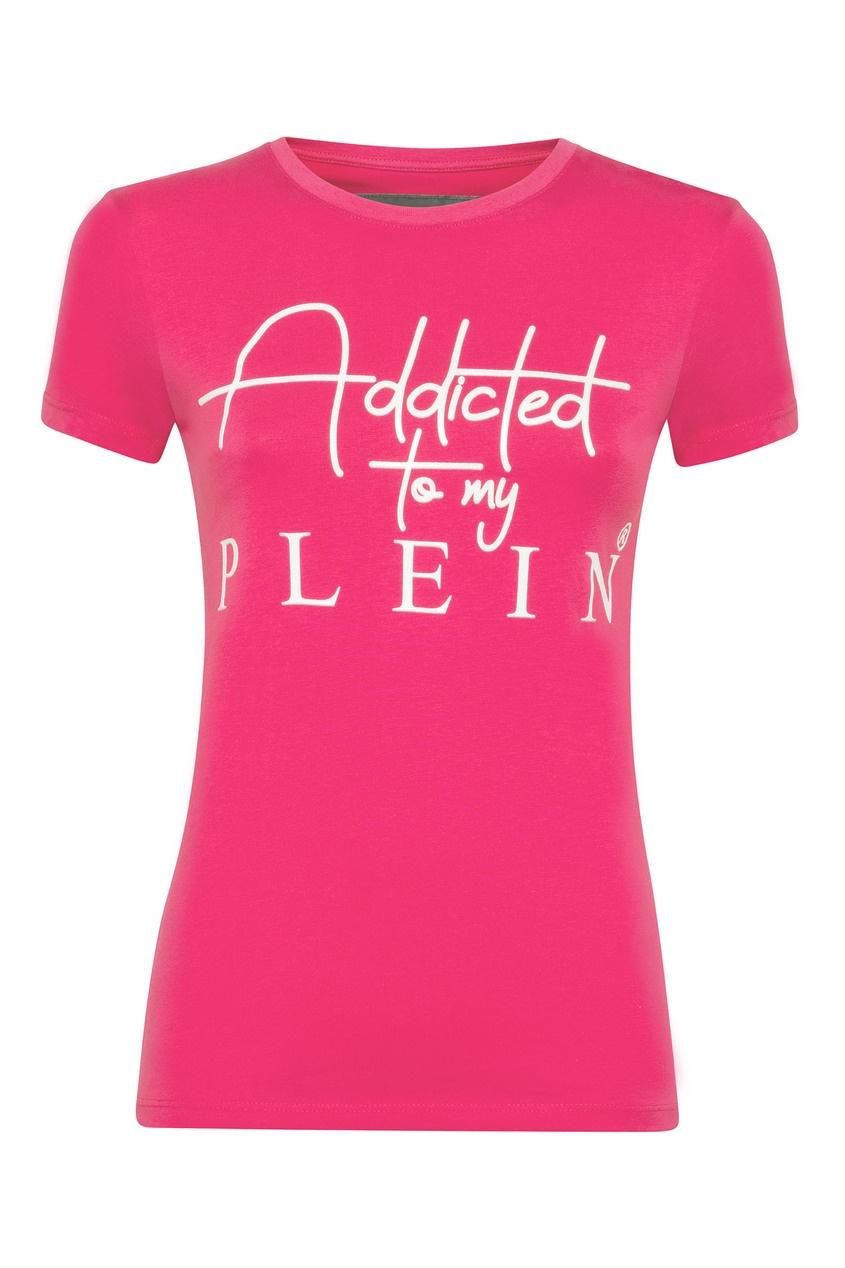 Купить Розовая футболка с рельефной надписью от Philipp Plein розового цвета