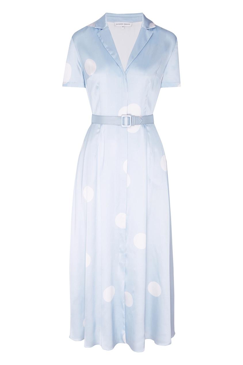 Купить Шелковое платье с рисунком от Alexander Terekhov голубого цвета