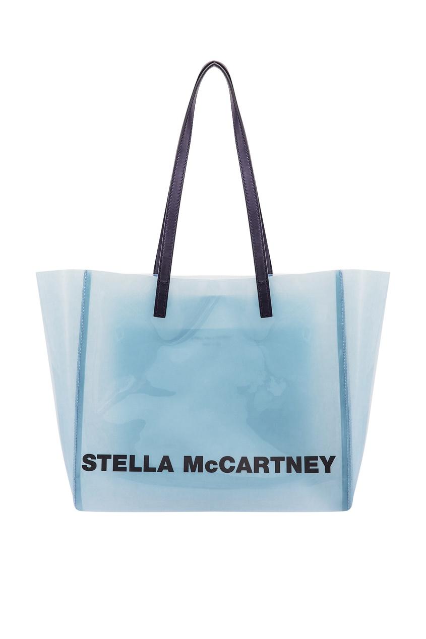 Купить Серо-голубая сумка с логотипом от Stella McCartney серого цвета