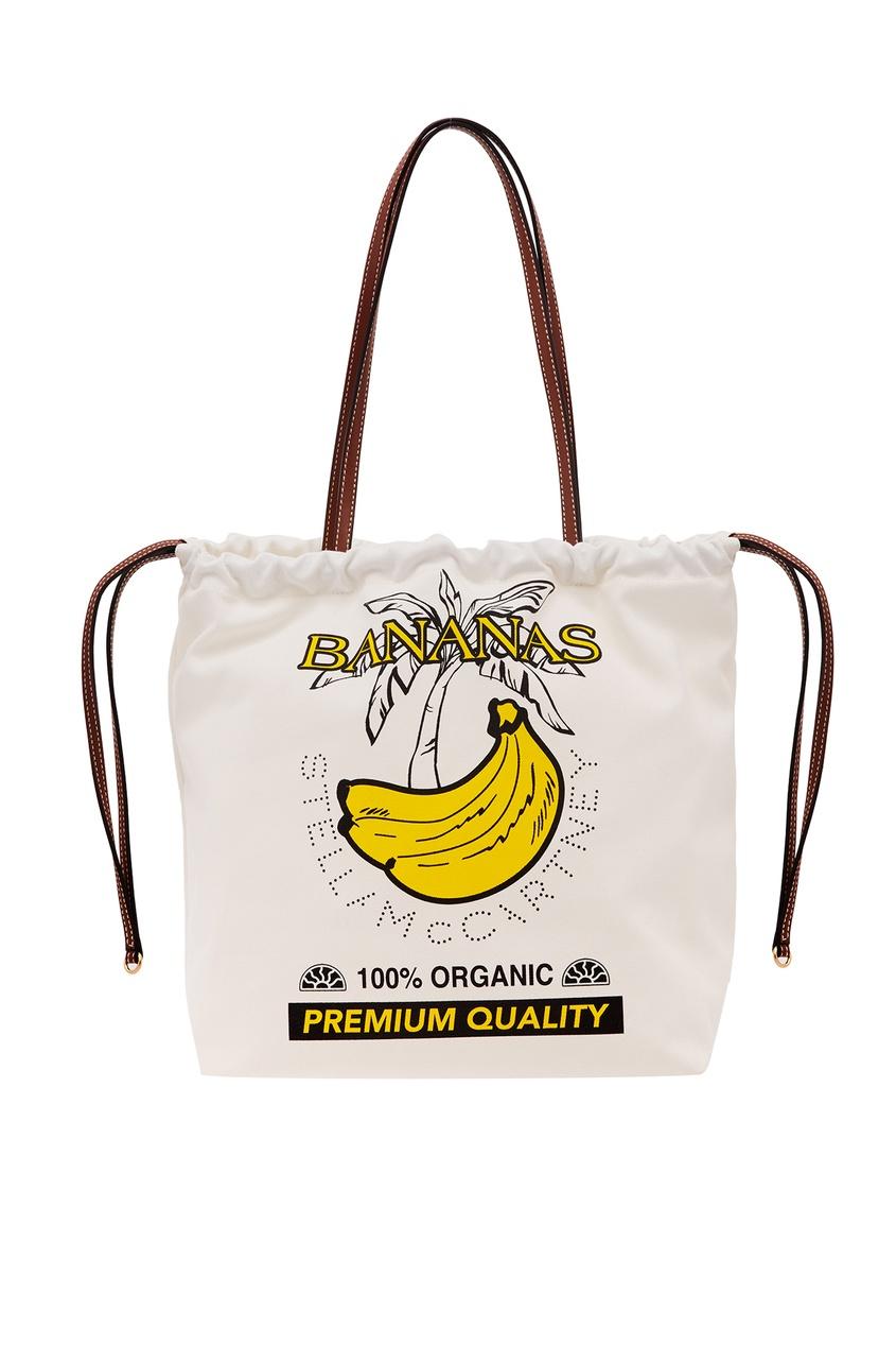 Купить Белая сумка с принтом банана от Stella McCartney белого цвета