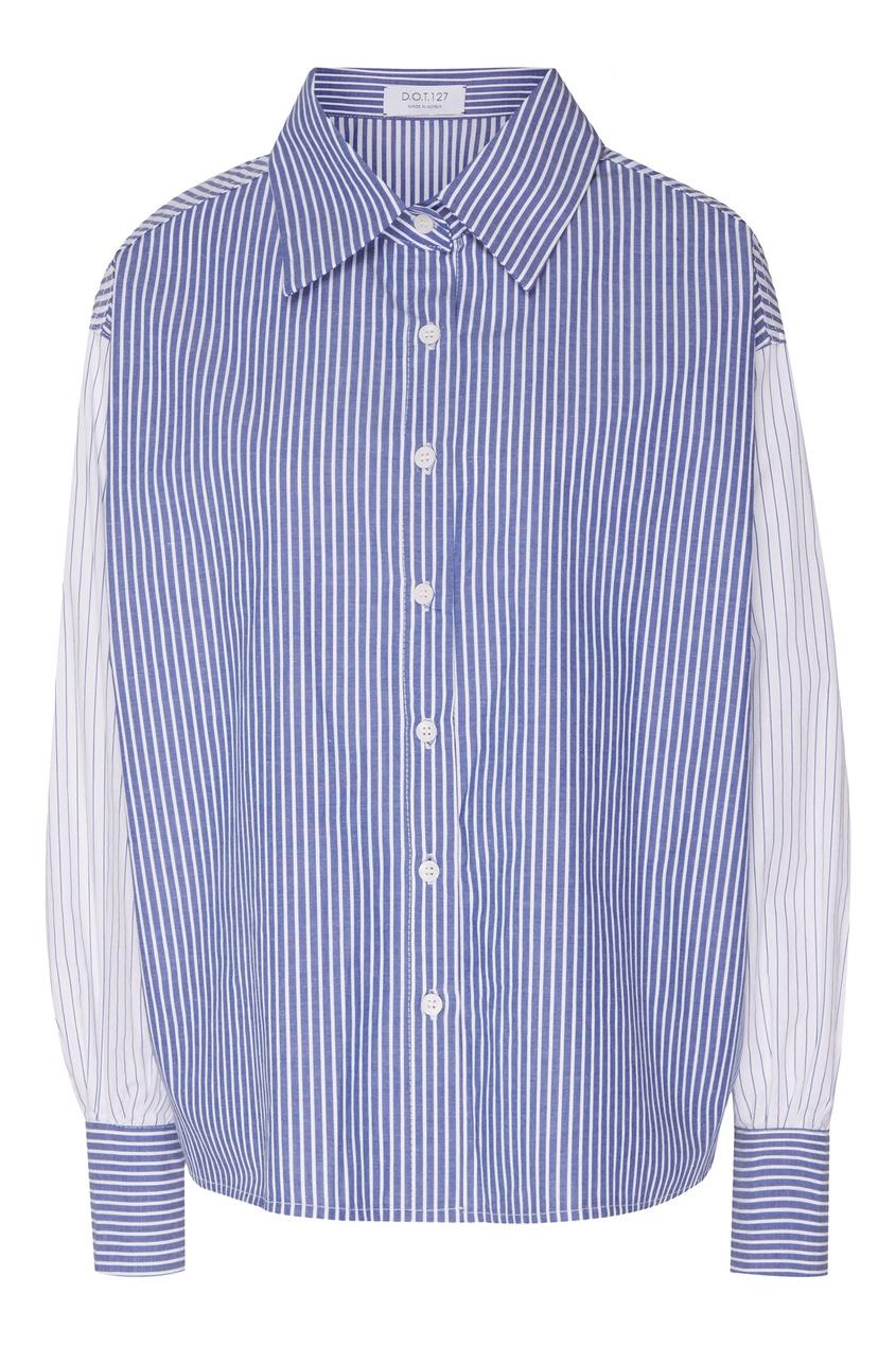 Купить Комбинированная рубашка от D.O.T.127 голубого цвета