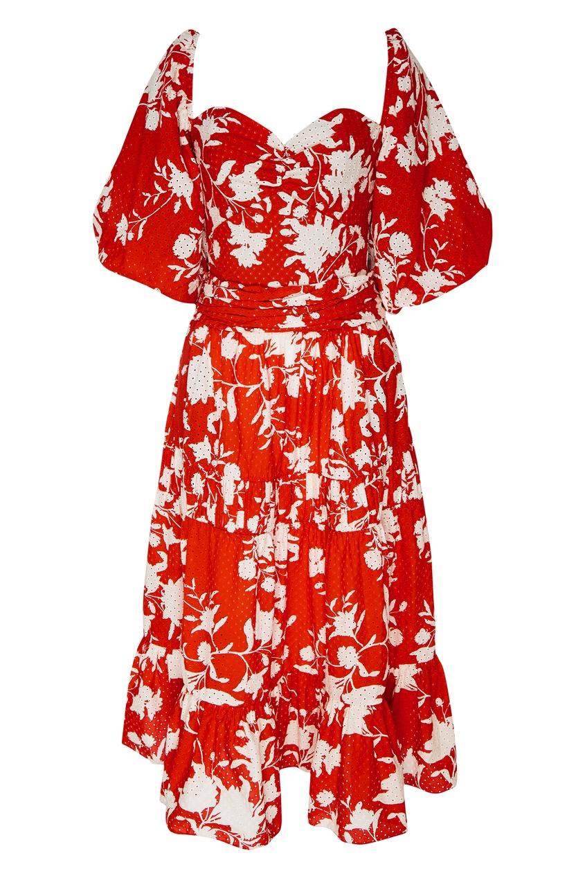 Купить Платье-миди с принтом от Johanna Ortiz бежевого цвета