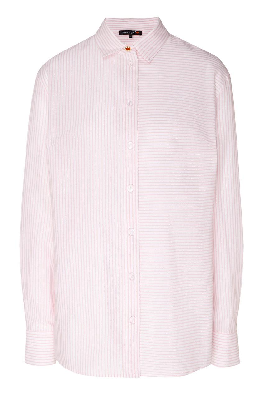 Купить Рубашку в полоску от Terekhov Girl розового цвета