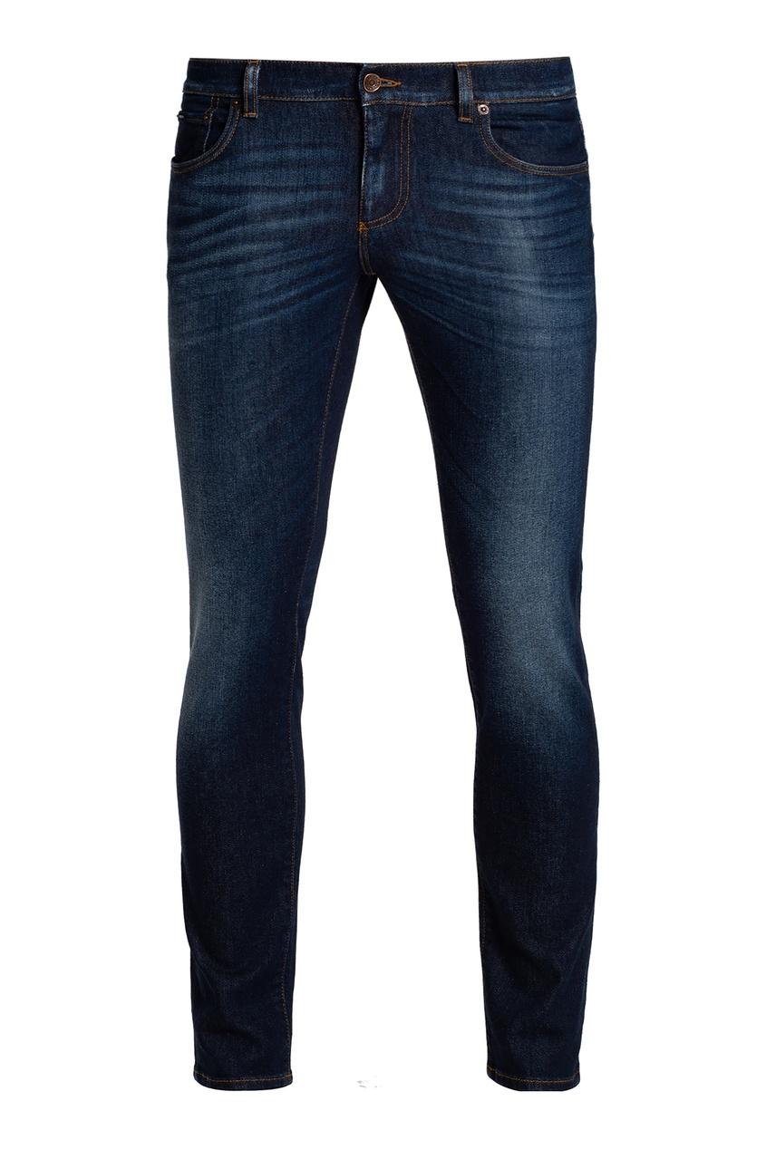 Синие зауженные джинсы