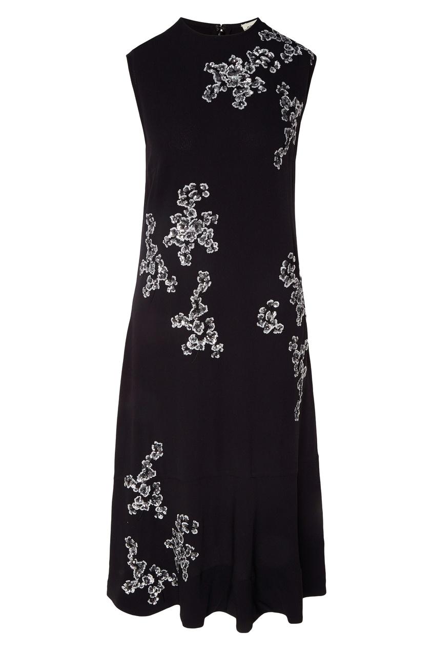 Купить Черное платье-миди с пайетками от By Malene Birger черного цвета