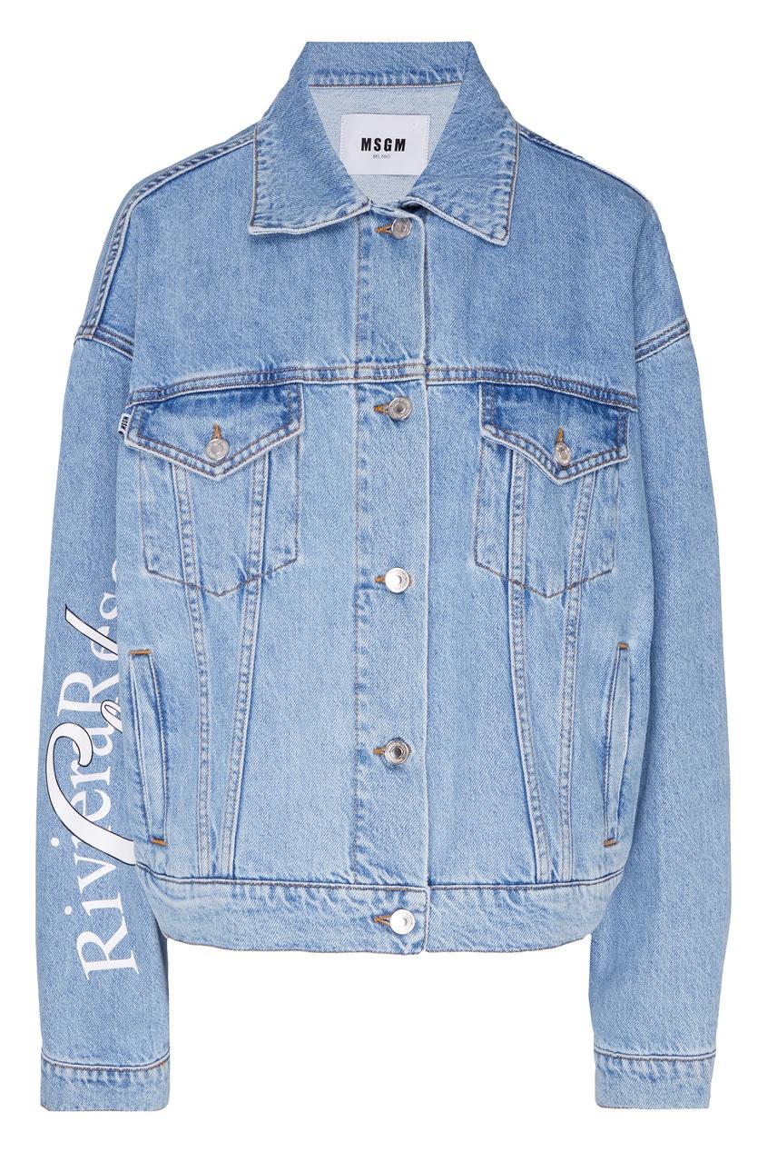 Купить Голубая джинсовая куртка с принтом от MSGM синего цвета