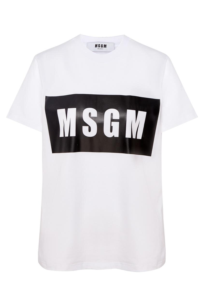 Купить Белая футболка с логотипом от MSGM белого цвета