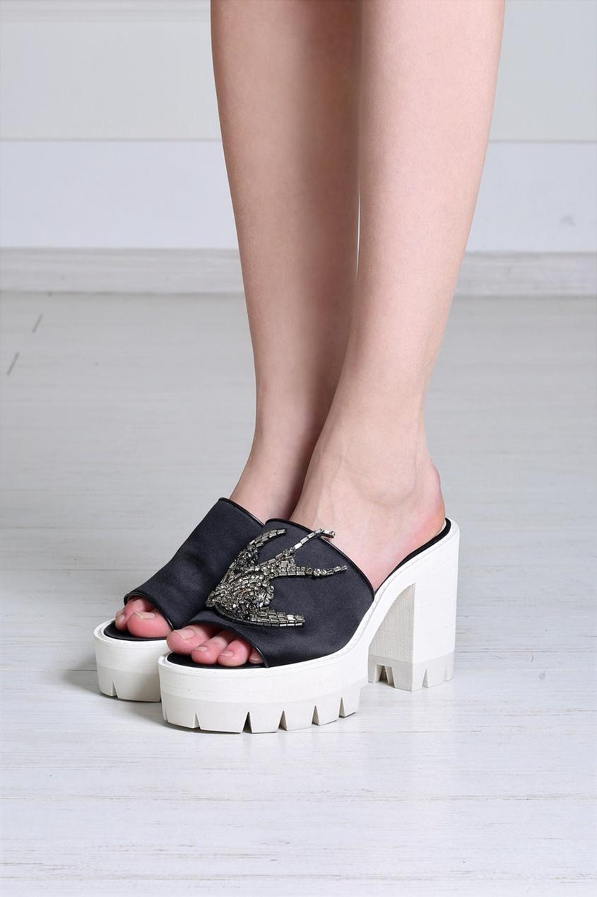 Открытые туфли из шелка и вискозы