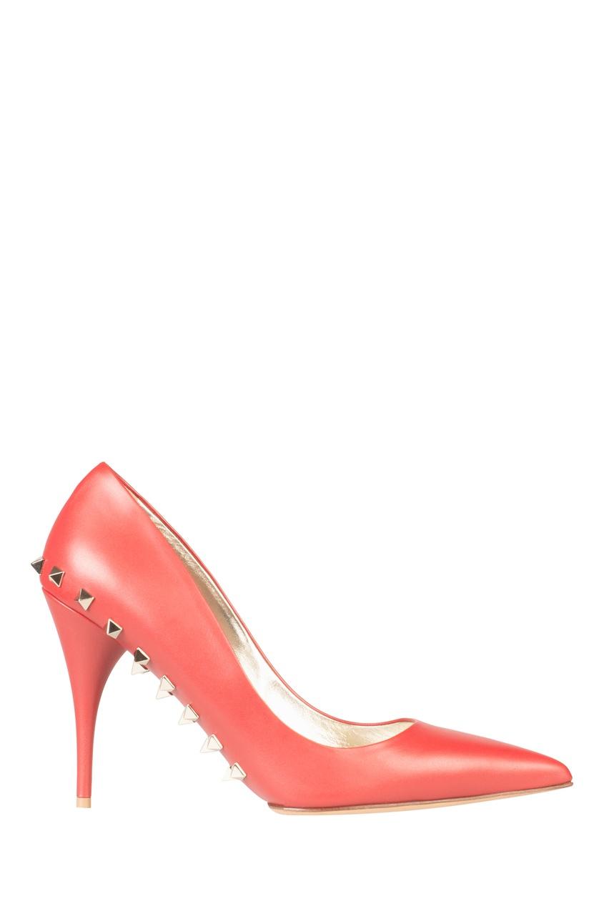 Коралловые кожаные туфли с отделкой