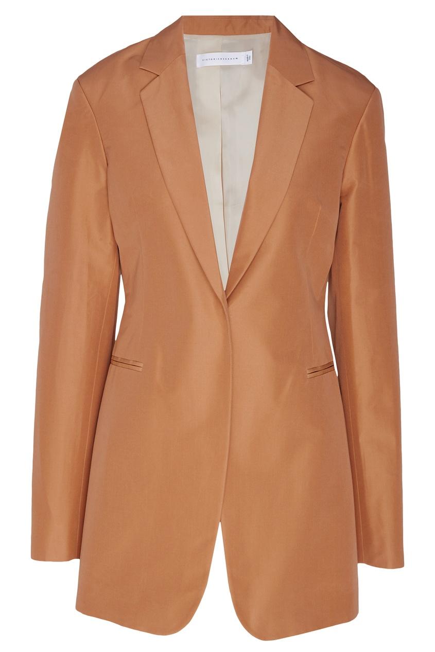Купить Жакет из коричневой тафты от Victoria Beckham бежевого цвета
