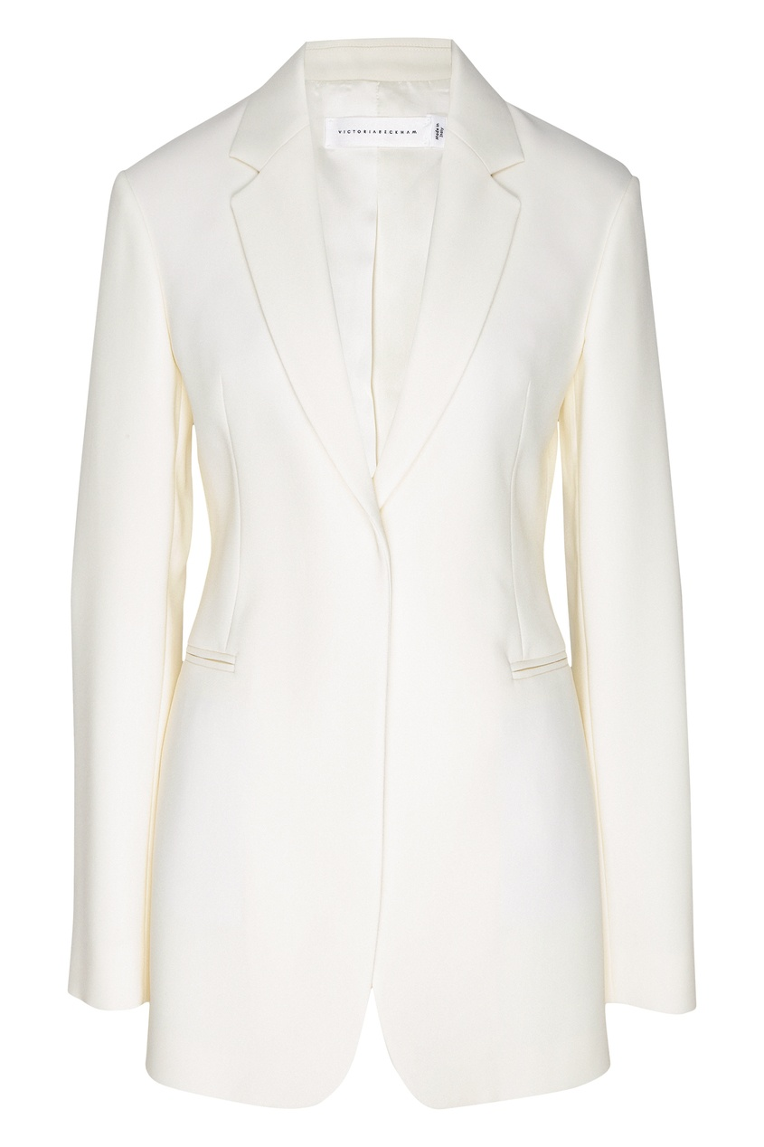 Удлиненный белый жакет от Victoria Beckham