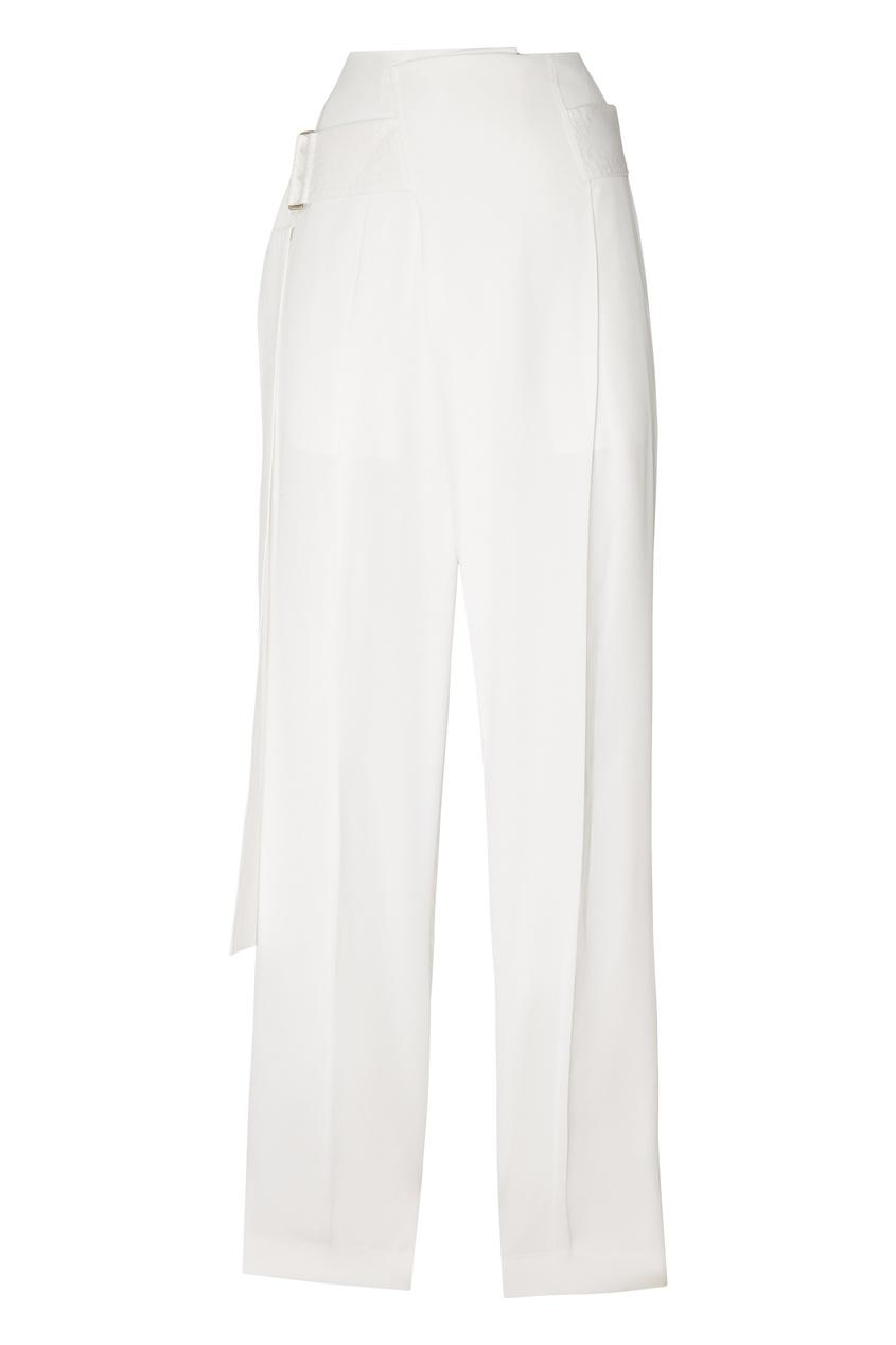 Широкие белые брюки с поясом от Victoria Beckham