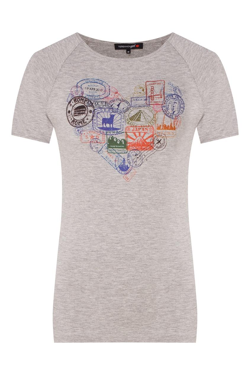 Купить Серая футболка с разноцветным принтом от Terekhov Girl серого цвета