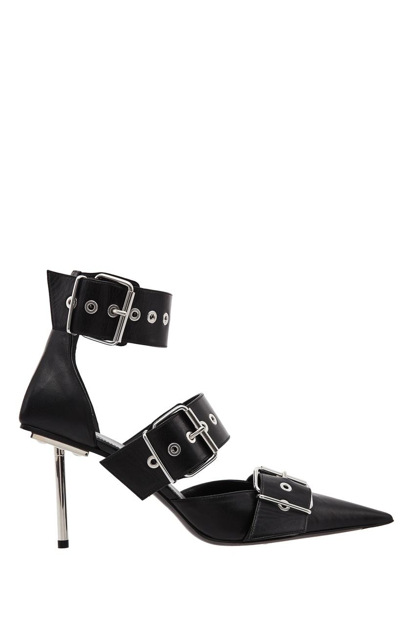 Купить Черные кожаные туфли Belt от Balenciaga черного цвета