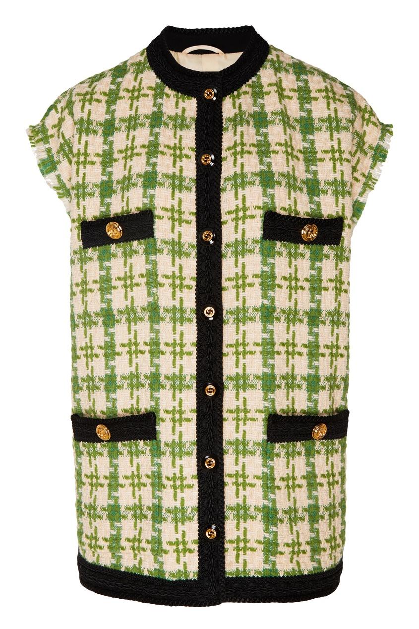 Купить Зелено-бежевый клетчатый жилет от Gucci цвет multicolor