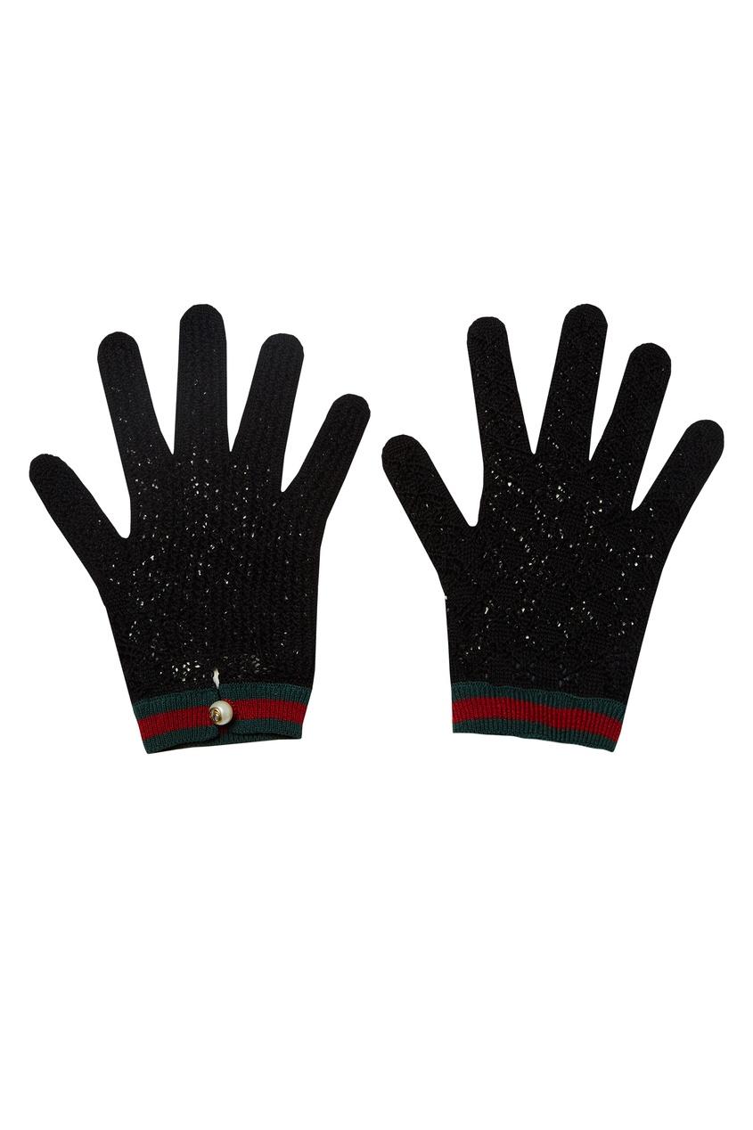 Купить Вязаные перчатки с отделкой Web от Gucci черного цвета