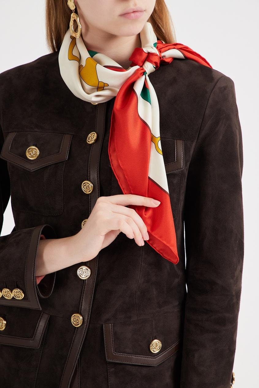 Фото 3 - Шелковый платок с символикой бренда от Gucci цвет multicolor