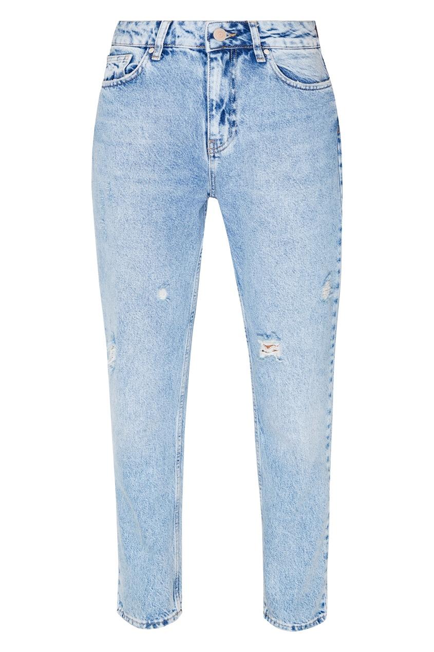 Купить Джинсы из выбеленного денима от Victoria Bonya Jeans голубого цвета