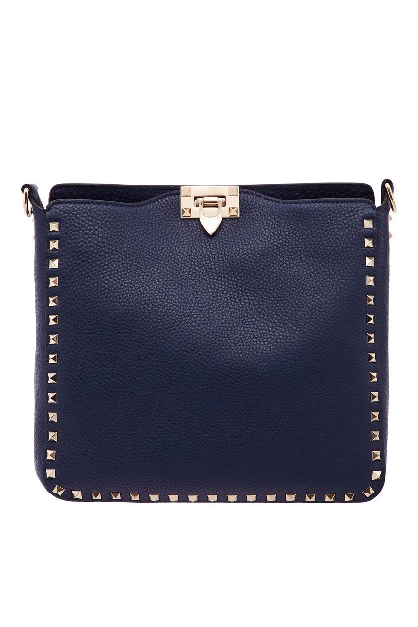 Купить Синяя сумка с золотистыми шипами-пирамидками от Valentino синего цвета