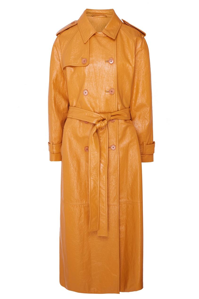 Купить Лакированный кожаный плащ от Alexander Terekhov оранжевого цвета