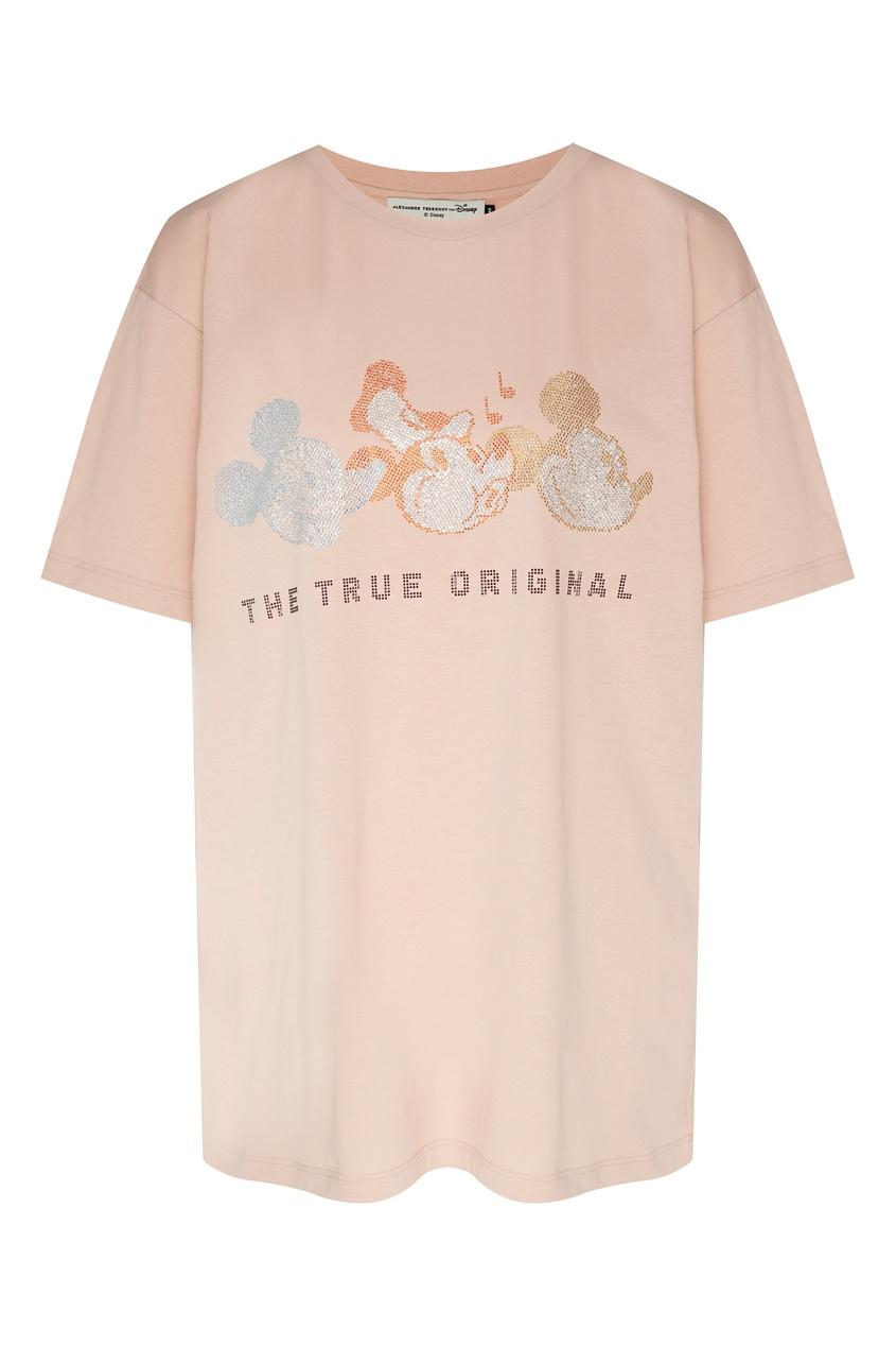 Купить Трикотажный джемпер со стразами от Alexander Terekhov розового цвета