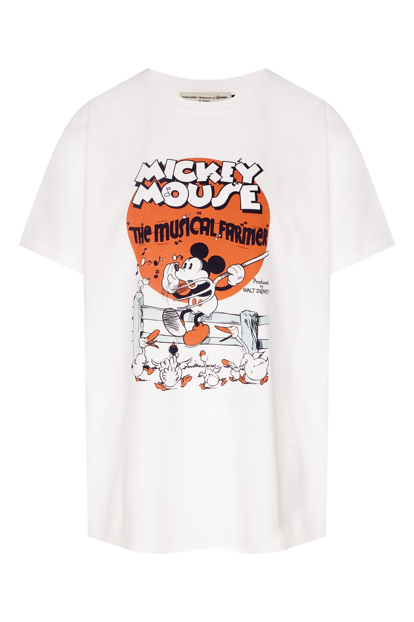 Купить Хлопковая футболка с Микки Маусом от Alexander Terekhov белого цвета
