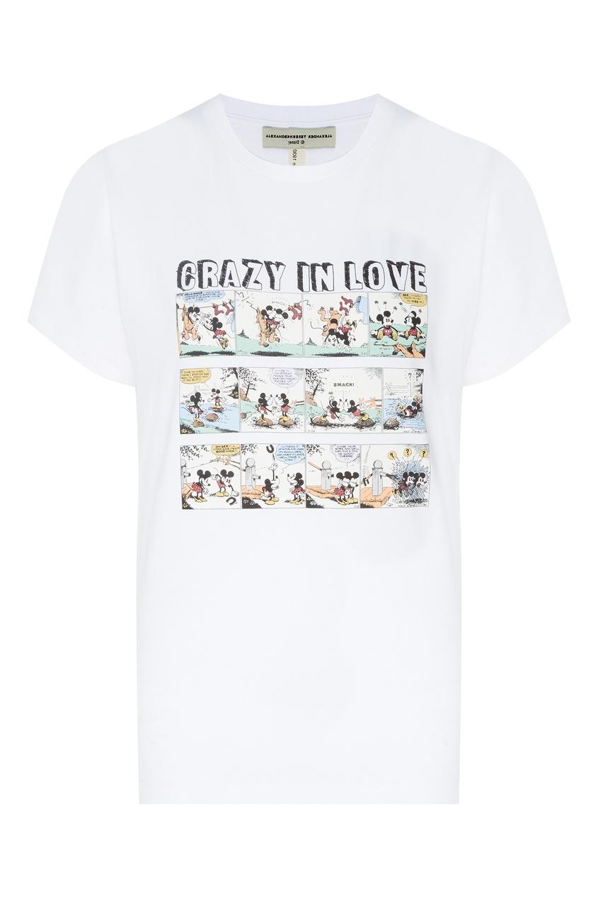 Купить Хлопковая футболка с принтом от Alexander Terekhov белого цвета