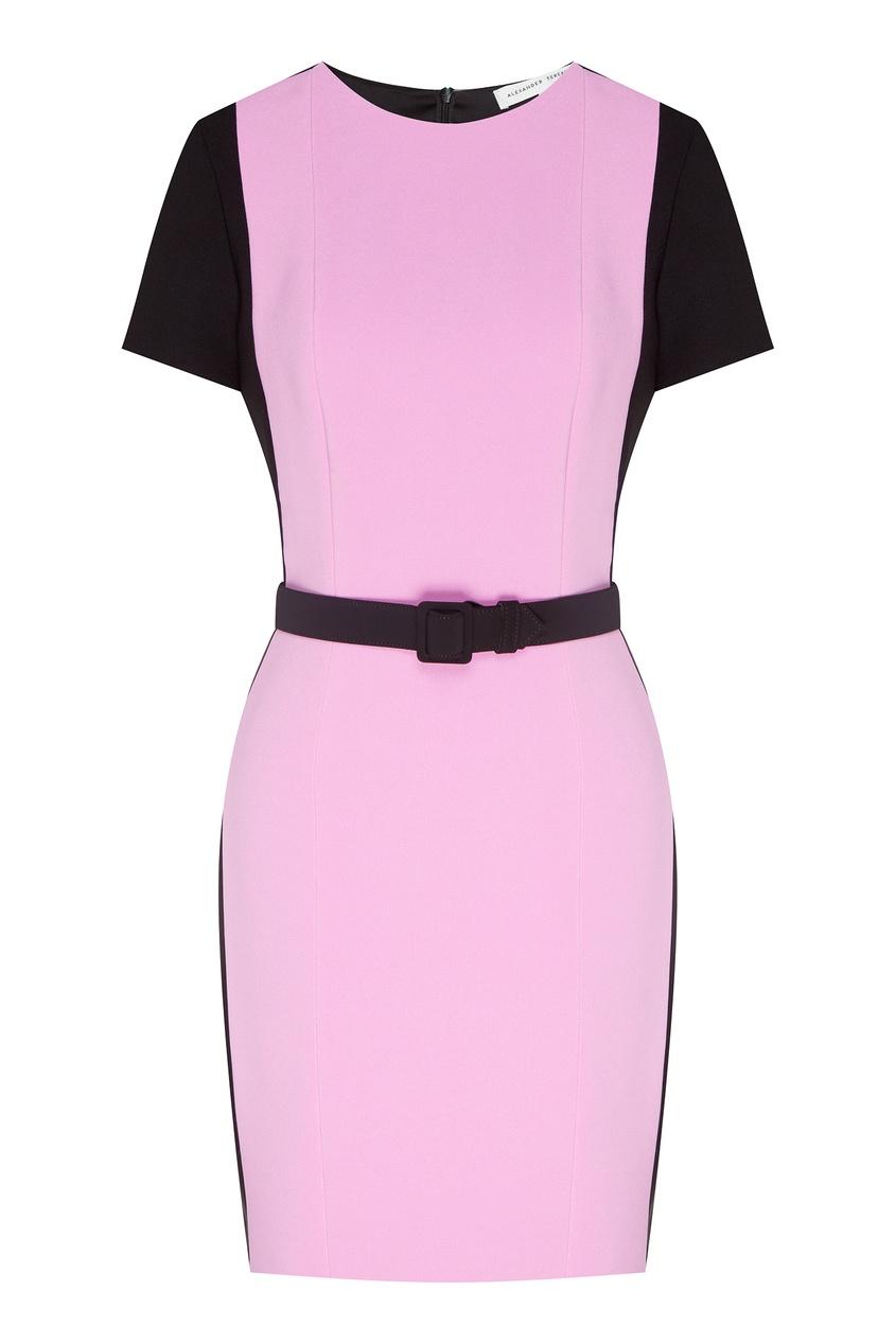 Купить Комбинированное платье с поясом от Alexander Terekhov розового цвета