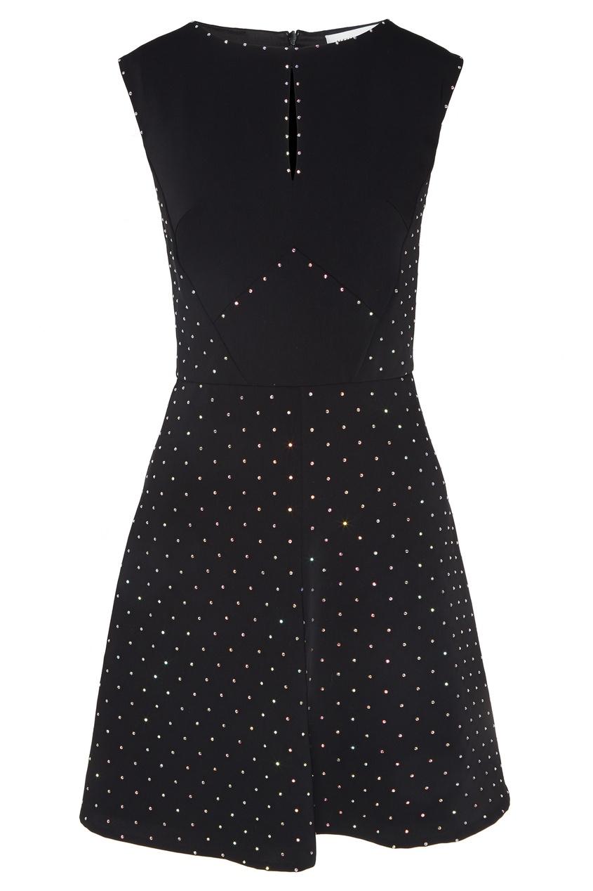 Купить Черное мини-платье со стразами от Alexander Terekhov черного цвета