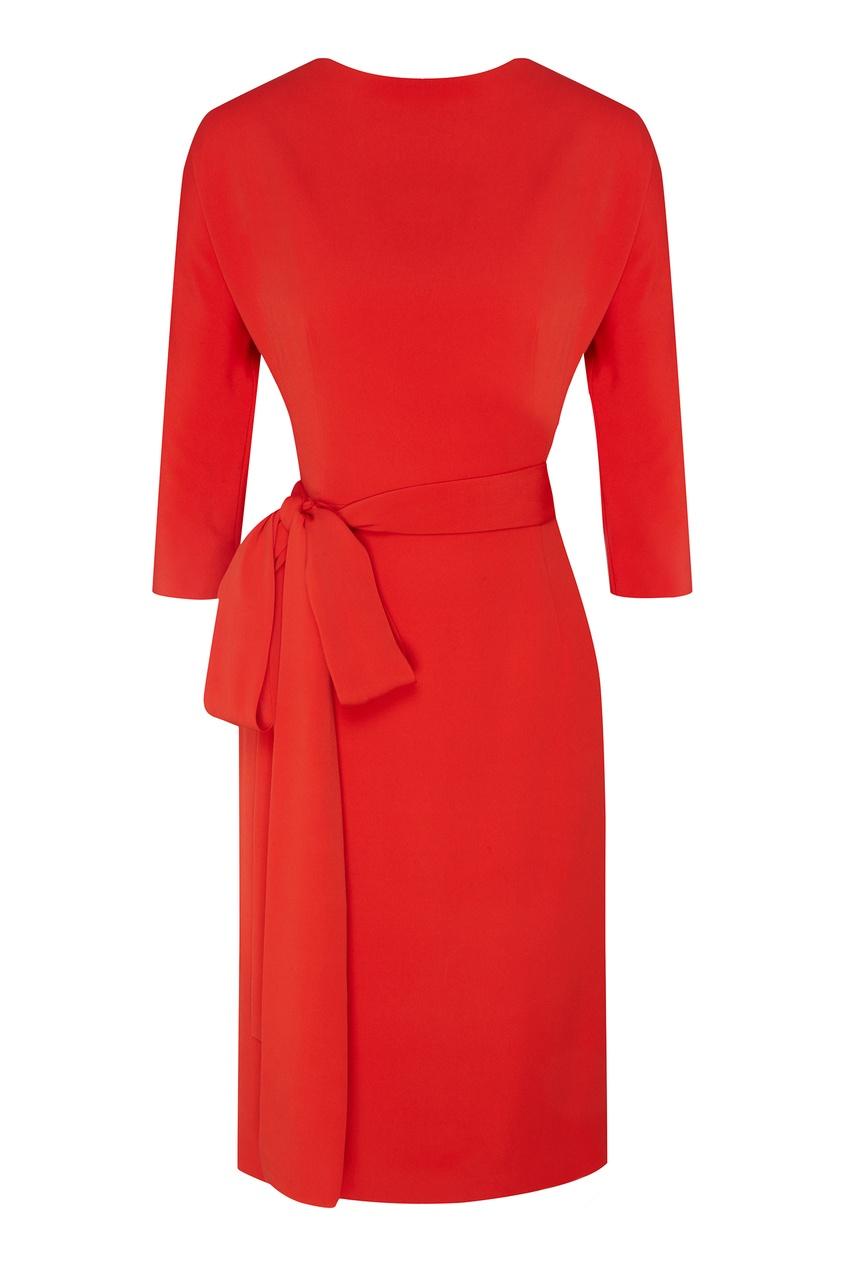 Купить Платье-миди с поясом от Alexander Terekhov красного цвета