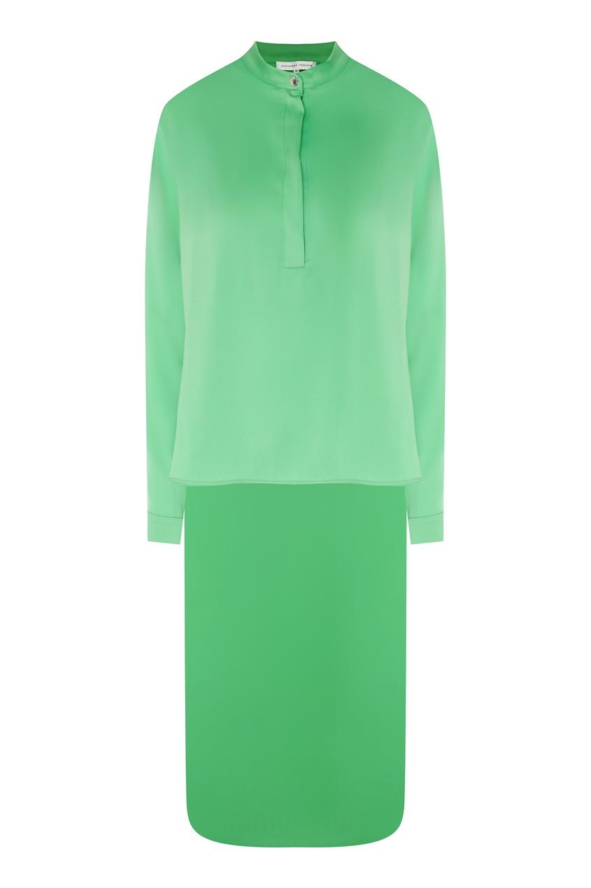 Купить Зеленая шелковая блузка от Alexander Terekhov зеленого цвета