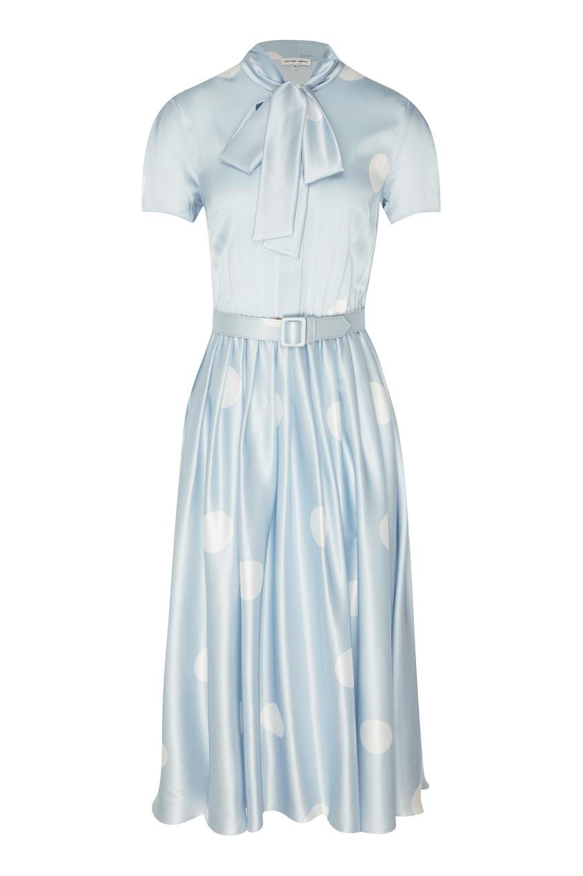 Купить Голубое платье-миди в горошек от Alexander Terekhov голубого цвета