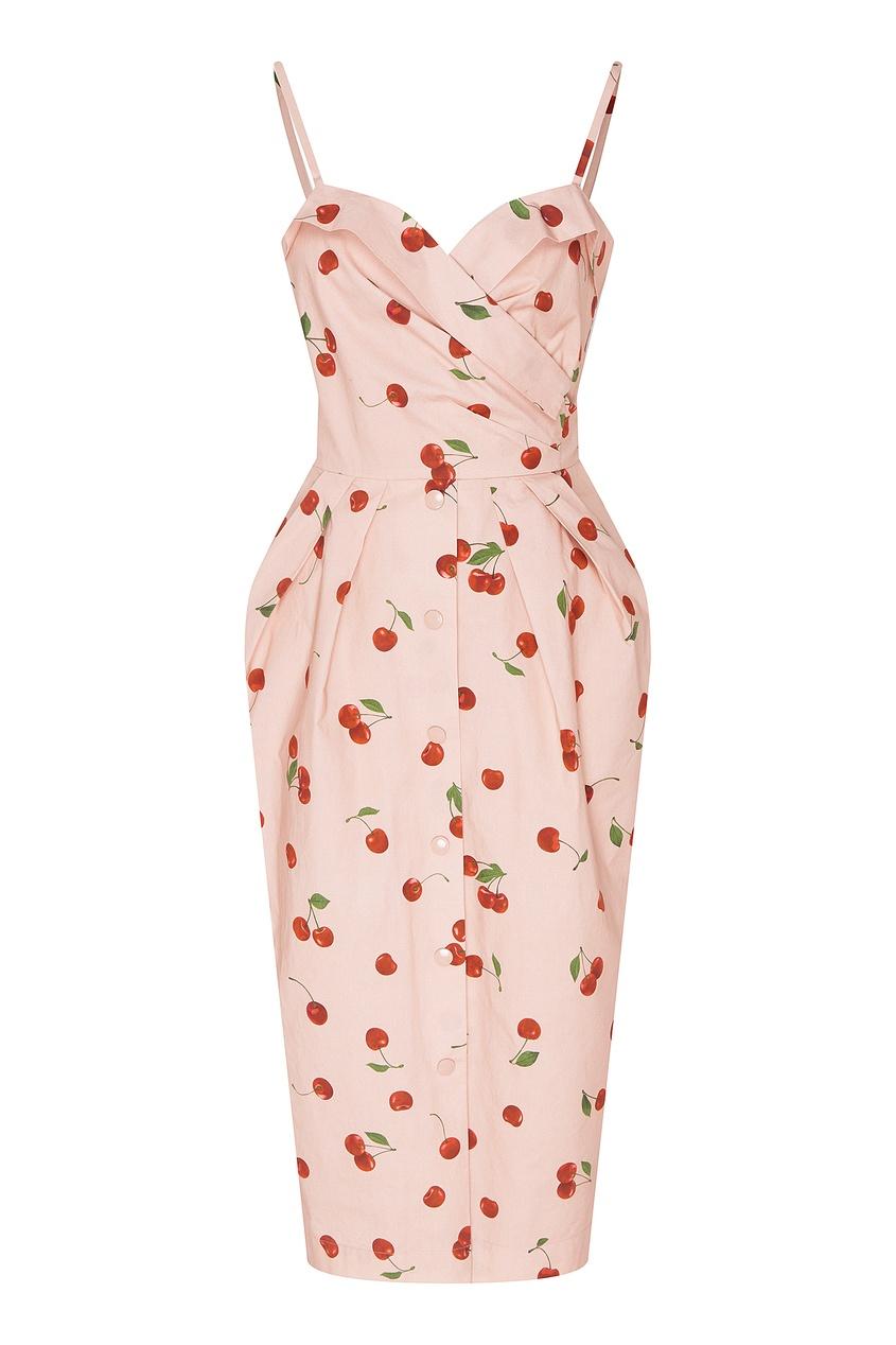 Купить Приталенное платье с вишнями от Alexander Terekhov бежевого цвета