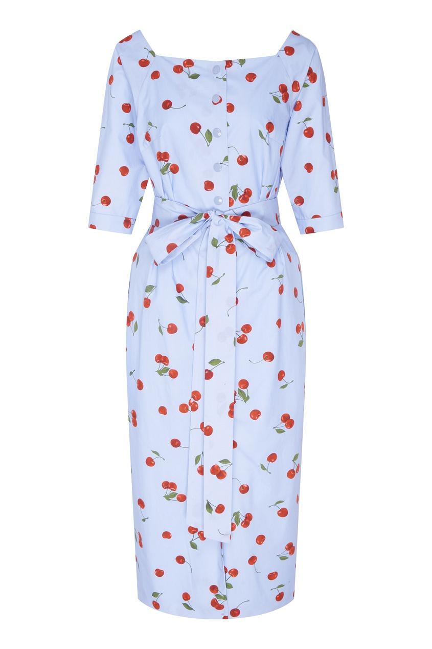 Купить Голубое платье с вишнями от Alexander Terekhov голубого цвета