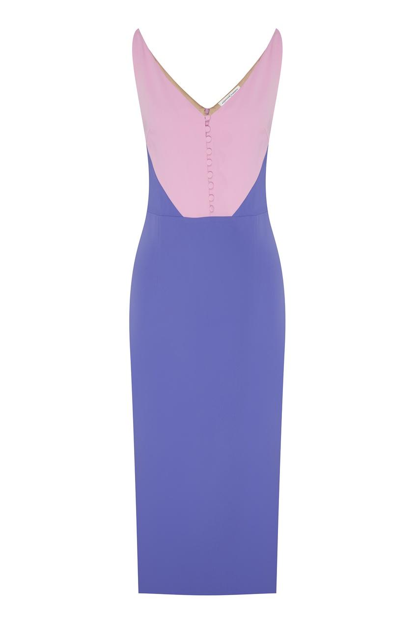 Купить Комбинированное платье-миди от Alexander Terekhov розового цвета