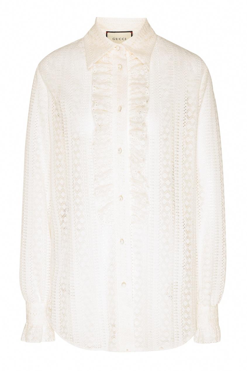 Купить Кружевная блуза с рюшами от Gucci белого цвета