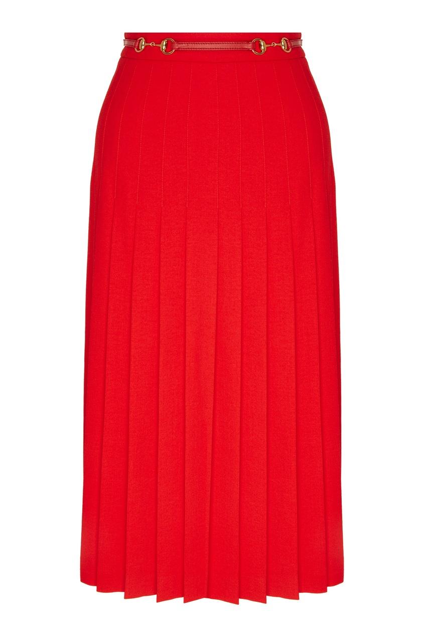 Купить Красная плиссированная юбка с поясом от Gucci оранжевого цвета