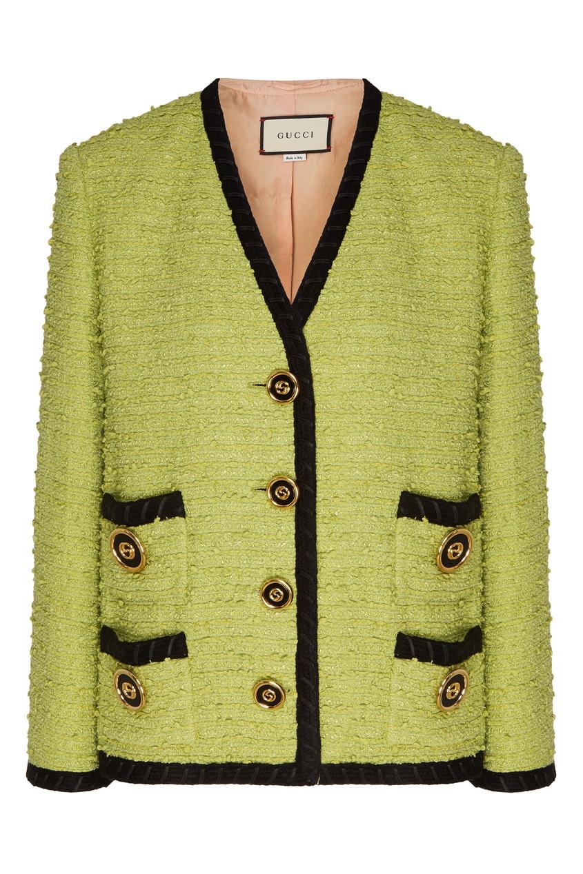 Купить Твидовый жакет фисташкового цвета от Gucci зеленого цвета