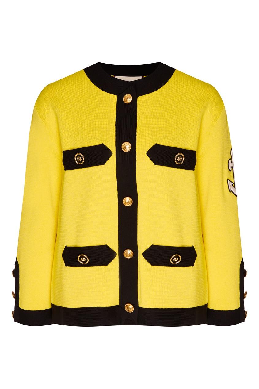 Купить Жакет с вышитой надписью на спине от Gucci желтого цвета